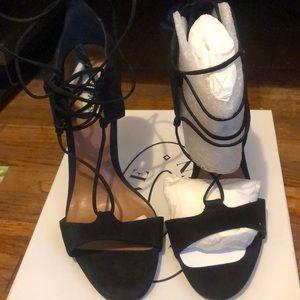 Black Sued Lace Up Open Toe Heels
